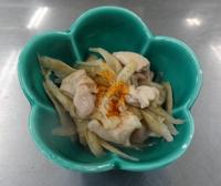 レシピ4 出来あがり - 鶏とごぼうのさっぱり塩金平